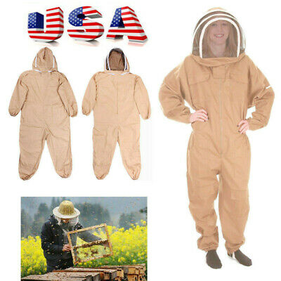 Cotton Full Body Bee Keeping Suit Veil Hood Protective Suit Lxlxxl Size Usa