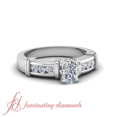 .90 Ct Cushion Cut SI1-D Color Diamond Engagement Ring Channel Set 14K Gold GIA