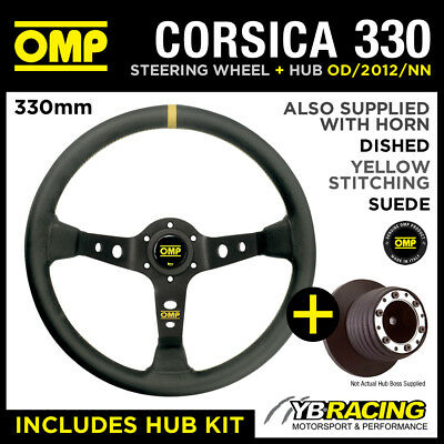 SEAT AROSA ALL 02- OMP CORSICA 330 SUEDE LEATHER STEERING WHEEL & HUB COMBO PACK