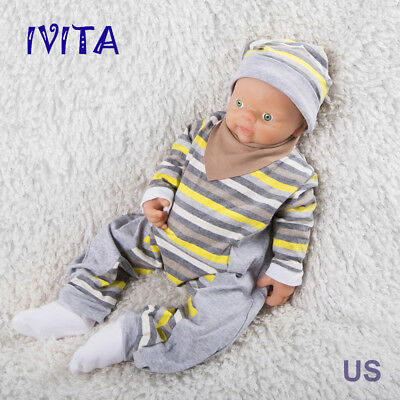 18'' Ivita Reborn Boy Doll Realistic Silicone Reborn Baby Take A Pacifier Toy Us