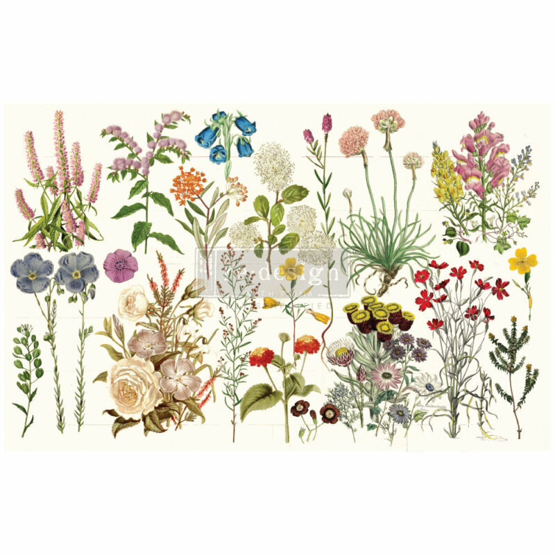 """WILD HERBS 1 sheet 19""""x30"""" decoupage paper by redesign with Prima!"""