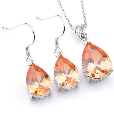 - Jewelry SET Oval Cut Honey Brazil Citrine Gems Silver Pendant Earrings + Chain