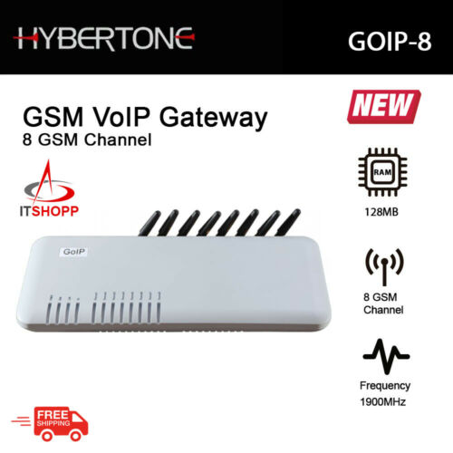 Hybertone GSM VoIP Gateway GOIP-8 with 8 GSM Channel and 128MB RAM
