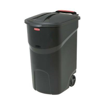 Trash Can 45 Gal. Black With Wheels and amp; Lid Outdoor Hin