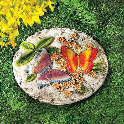 2 BUTTERFLY CEMENT STEPPING STONE YARD GARDEN PATIO DECOR~38805