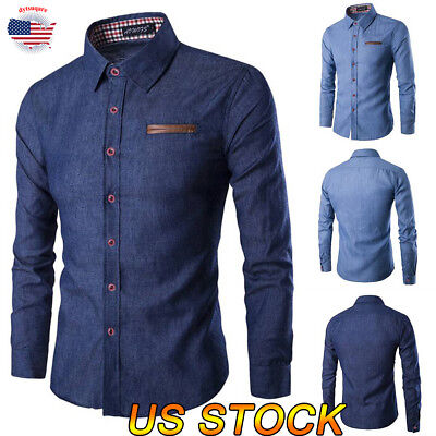 - Men Long Sleeve Cotton Plaid Slim Fit Casual Button Business Dress Shirt Top Tee