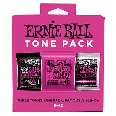 Ernie Ball Tone Pack Electric Guitar Strings Super Slinky Cobalt M-Steel 9-42