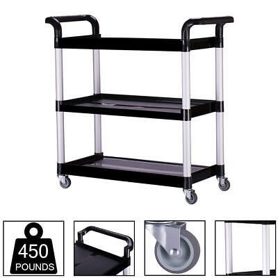 Heavy Duty Utility Service Cart 3 Shelf Push Hand Truck Rolling Shop Tools Trays