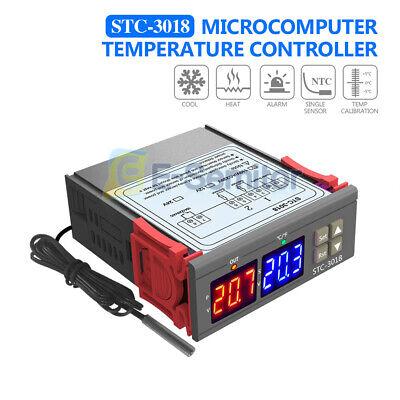 Stc-3018 110-220v Dual Digital Temperature Controller Thermostat W Probe Sensor