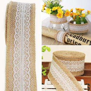 6m Natural Hessian Ribbon +lace Trim Edge Vintage Jute Burlap Wedding DIY