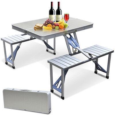 Aluminum Folding Camping Picnic Table With 4 Seats Portable Set Outdoor Garden