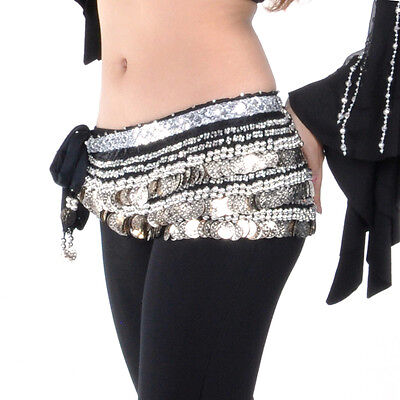 - BellyLady Womens Belly Dance Dancing Hip Scarf Multi-Row 338 Coins Dance Skirt