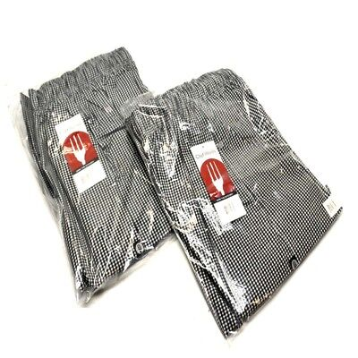2 New Chef Works Nbcp-000-xl Checkered Baggy Designer Chef Pants Xl
