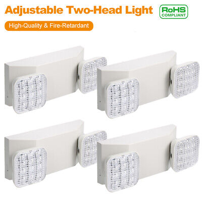 4pcs Led Emergency Exit Light 2head Battery Back-up Office Security Light R8w5