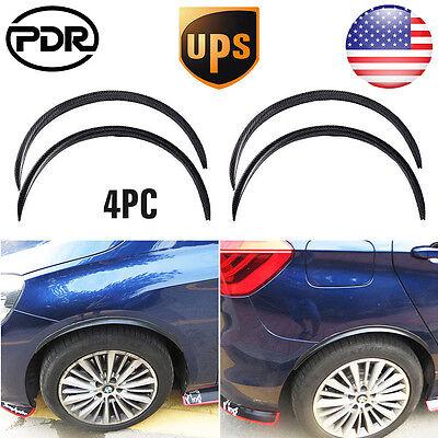 "4pc 28.7"" Carbon Fiber Rubber Car Wheel Eyebrow Arch Trim Lips Fender Flares Set"