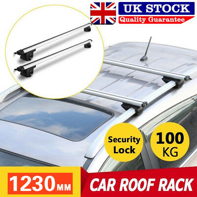1230mm Universal Aluminium Lockable Car Roof Rack Cross Bars Anti Theft Silver