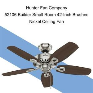 NEW Hunter Fan Company 52106 Builder Small Room 42-Inch Brushed Nickel Ceiling Fan with Five Brazilian Cherry/Harvest...