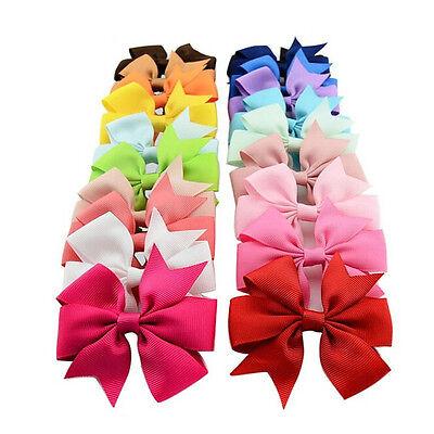 20X Colorful Boutique Kids Girls Alligator Clip Grosgrain Ribbon Hair Bows Clips