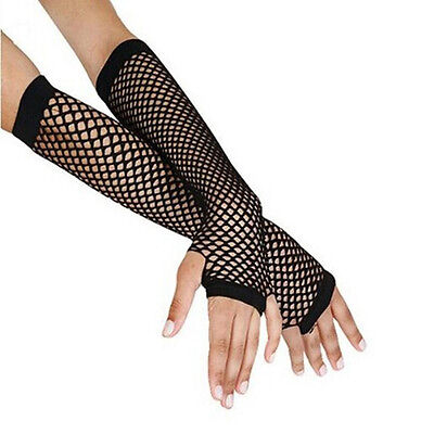 Black Fishnet Glove - Arm Girls Black Fancy For Woman Punk Costume Fishnet Gloves Long Fingerless