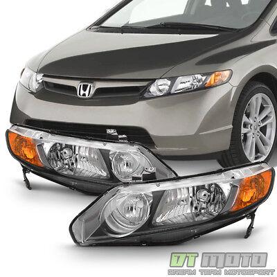 For Black 2006-2011 Honda Civic 4Dr Sedan Headlights Headlamps 06-11 Left+Right
