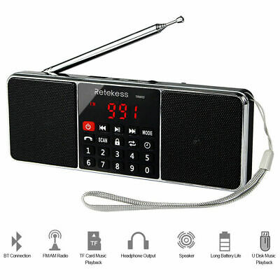 Portable AM/FM Radio Stereo Bluetooth Bass Multimedia Speaker Sleep Timer Gift Portable Stereo Multimedia