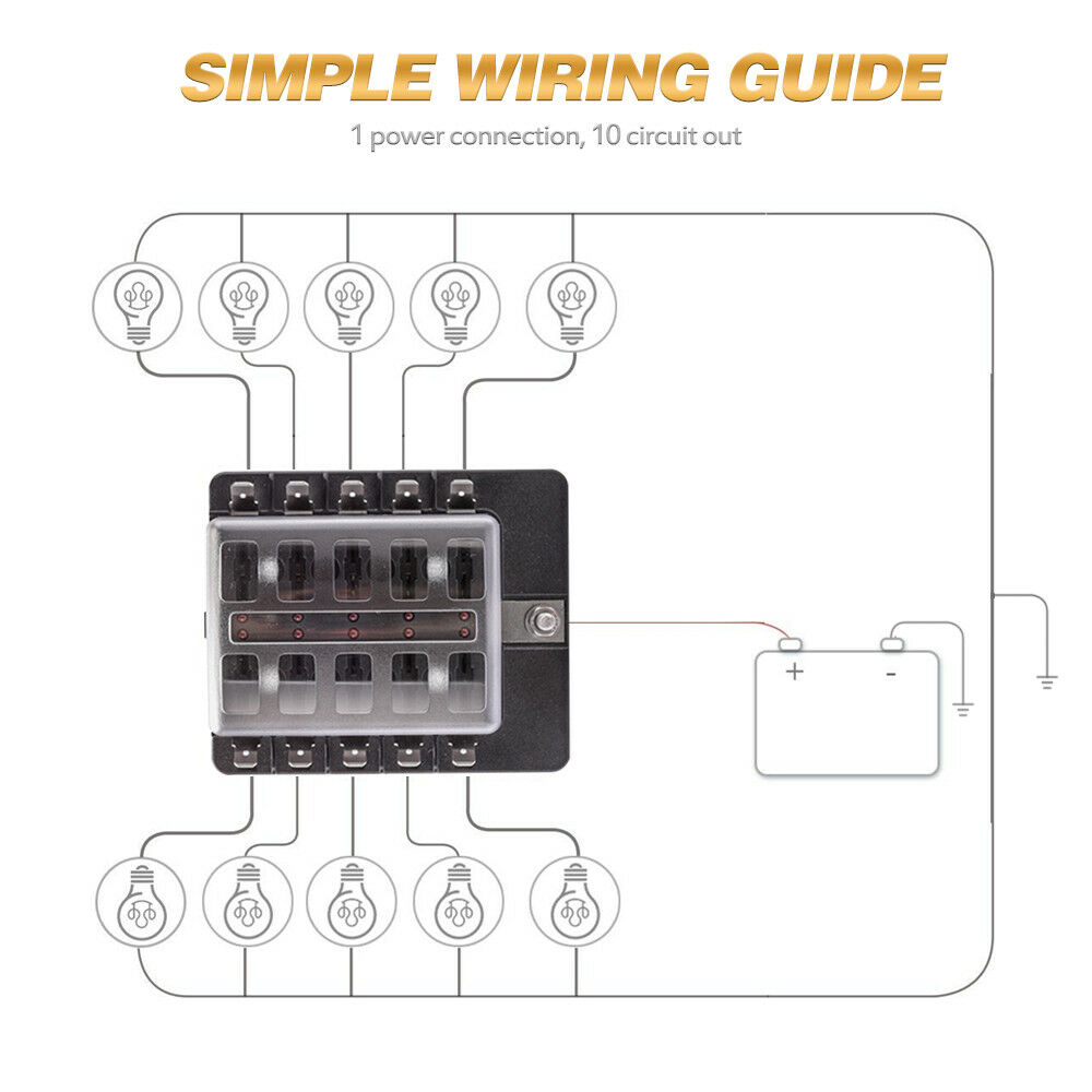 Led Illuminated Automotive Blade Fuse Holder Box 10 Circuit Electrical Block Cover