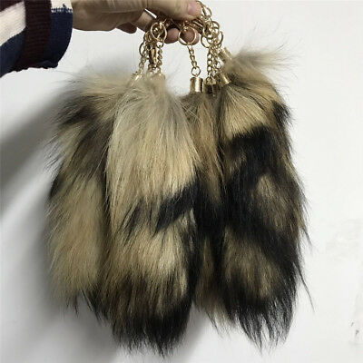 10pcs/lot Real Natural Raccoon Tail Fur Keychain Tassel Bag Tag Charm  for sale  Shipping to Canada