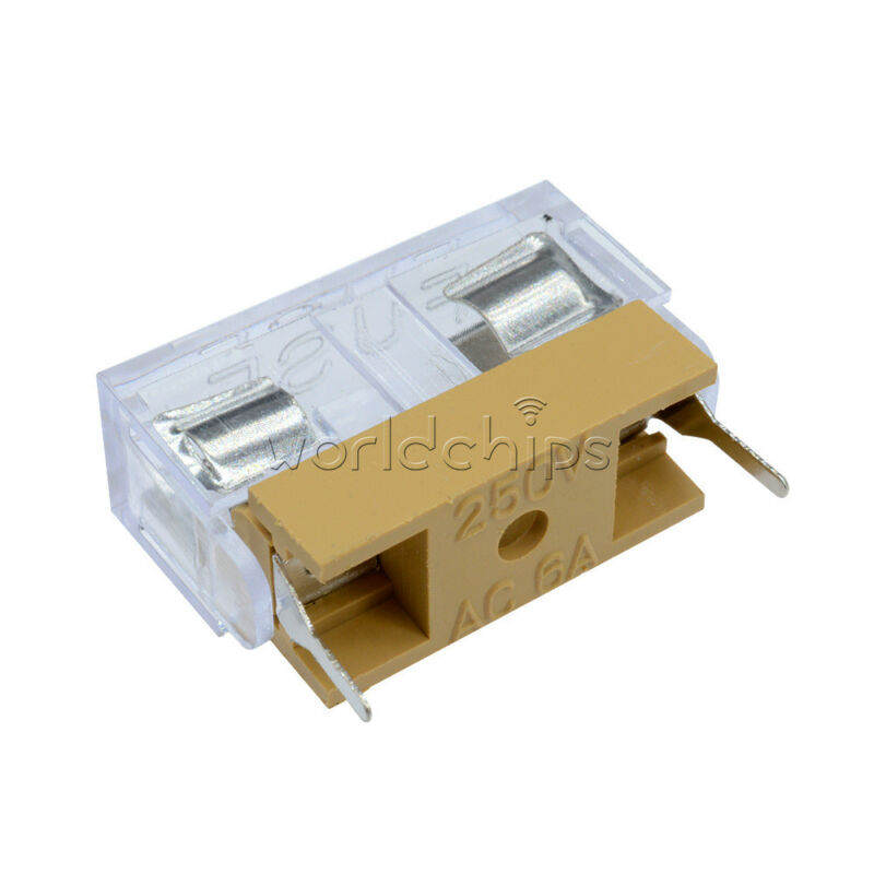 10pcs Panel Mount Pcb Fuse Case Holder With Cover For 5x20mm Fuse 250v 6a