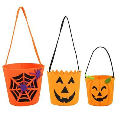3 Halloween -Trick Or Treat- Candy Tote Bags Pumpkin Face Jack O Lantern - Trick Or Treat Halloween Pumpkin