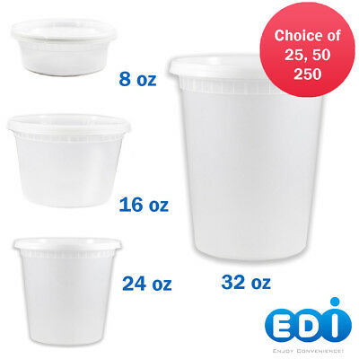 EDI 8oz 16oz 24oz 32oz Round Plastic Deli Food Containers with Lids BPA FREE - Container With Lid