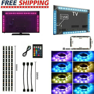 5050 RGB LED Strip Light USB Powered TV Backlight Lighting w/ Remote 5V 30Leds/M