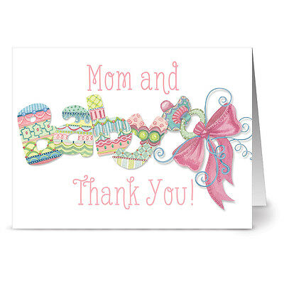 24 Note Cards - Mom and Baby Thank You Pink - Hot Pink Envs
