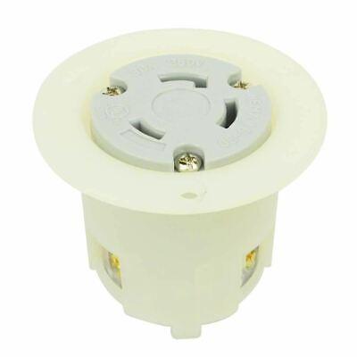 Female Twist Lock Flange Receptacle 30 Amps, 250V, NEMA L6-30R Flush Mount