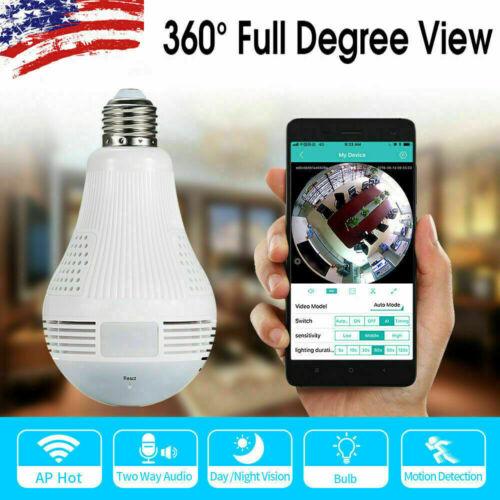 1080P HD 360° Panoramic Hidden Wifi IP Camera Light Bulb Home Security Lamp Cam