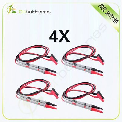 4 Pvc 1000v 20a Cable Banana Needle Tipped Tip Multimeter Probes Test Lead