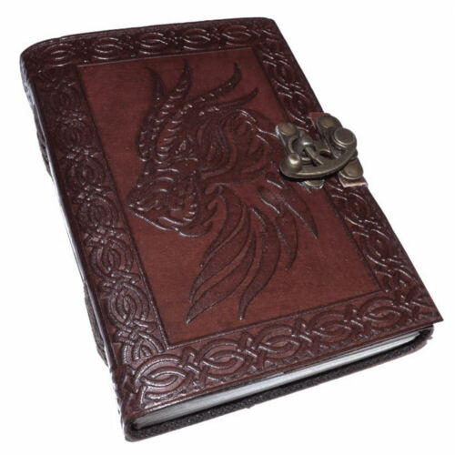 """NEW Celtic Dragon Leather Journal 5x7"""" w/ Latch Unlined Handmade Paper"""
