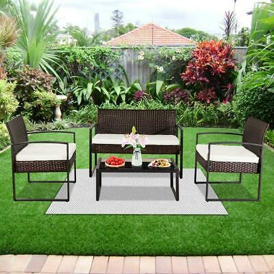 Garden Furniture - 4Pcs Patio Sofa End Table Outdoor Furniture Garden Rattan Sectional Set Brown US