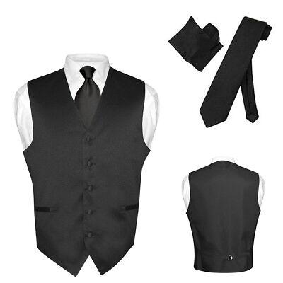 Men's Dress Vest NeckTie Hanky Solid BLACK Color Neck Tie Se