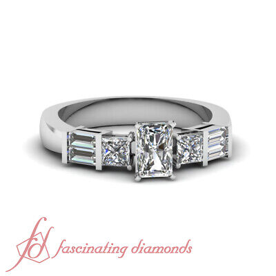 Radiant Cut And Baguette Diamond Rings For Women 1 Carat  In 14K White Gold GIA