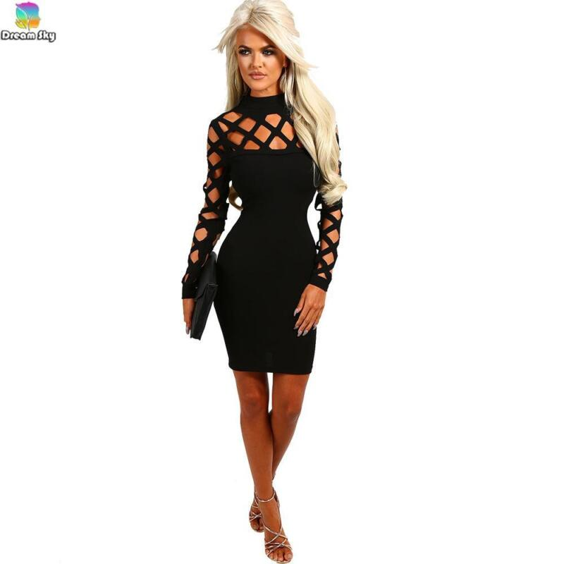 Dress - Sexy-Womens-long-Sleeve-Bandage-Bodycon-Evening-Party-Cocktail-Club-Mini-Dress