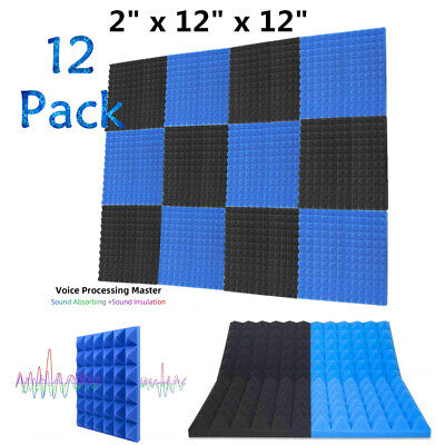 "12 Pack Acoustic Foam Panels Soundproofing Studio Pyramid Tiles 2"" X 12"" X 12"""