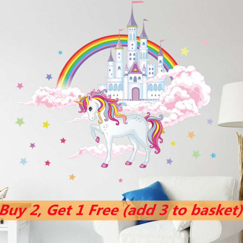 Home Decoration - Unicorn Castle Wall Stickers Home Decals Decor Bedroom Mural Wallpaper Removable
