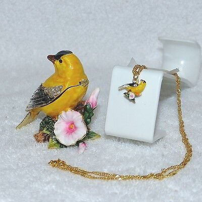 Enameled Pewter  Bejeweled Trinket Box with Treasure Inside - Goldfinch Bird
