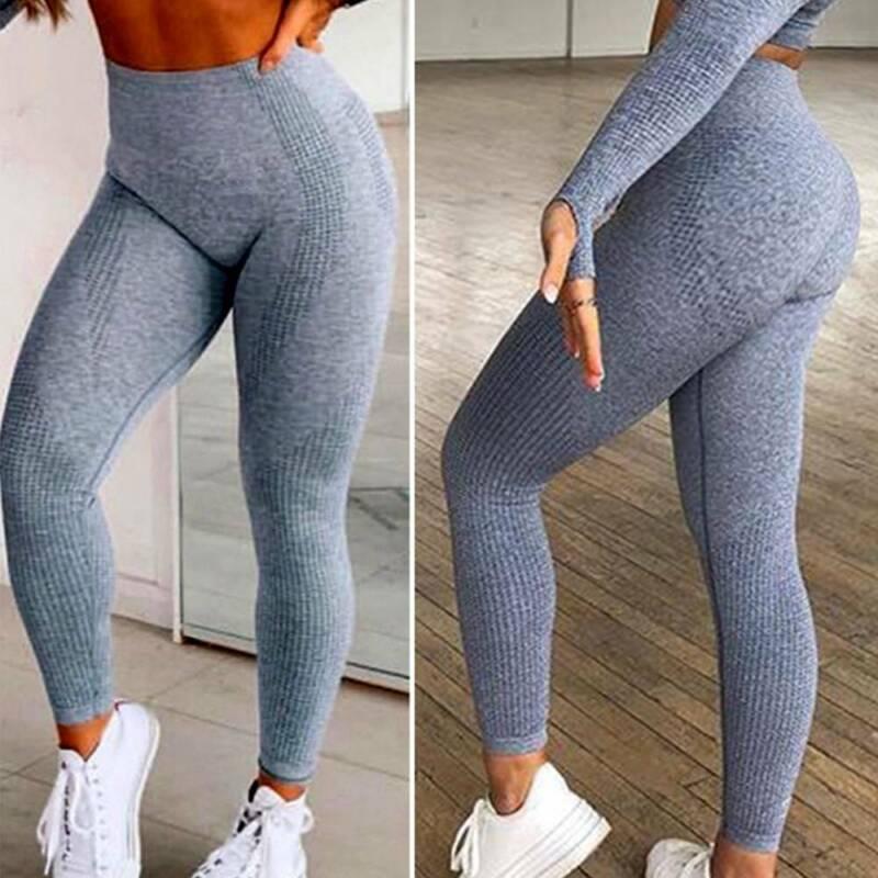 Damen Nahtlos Yoga Leggings Hosen Fitnesshose Sports Jogginghose Stretch Leggins