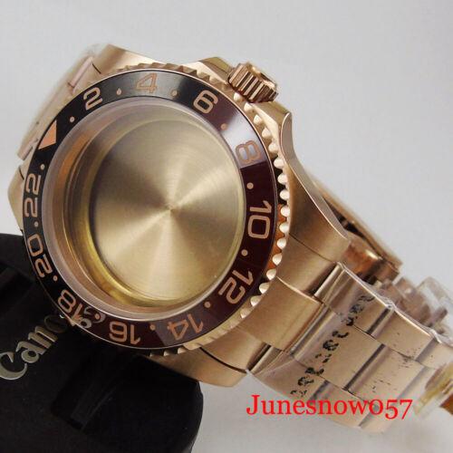 Rose Gold Coated Watch Case+Watch Band Fit ETA 2836 MIYOTA Movement Sapphire