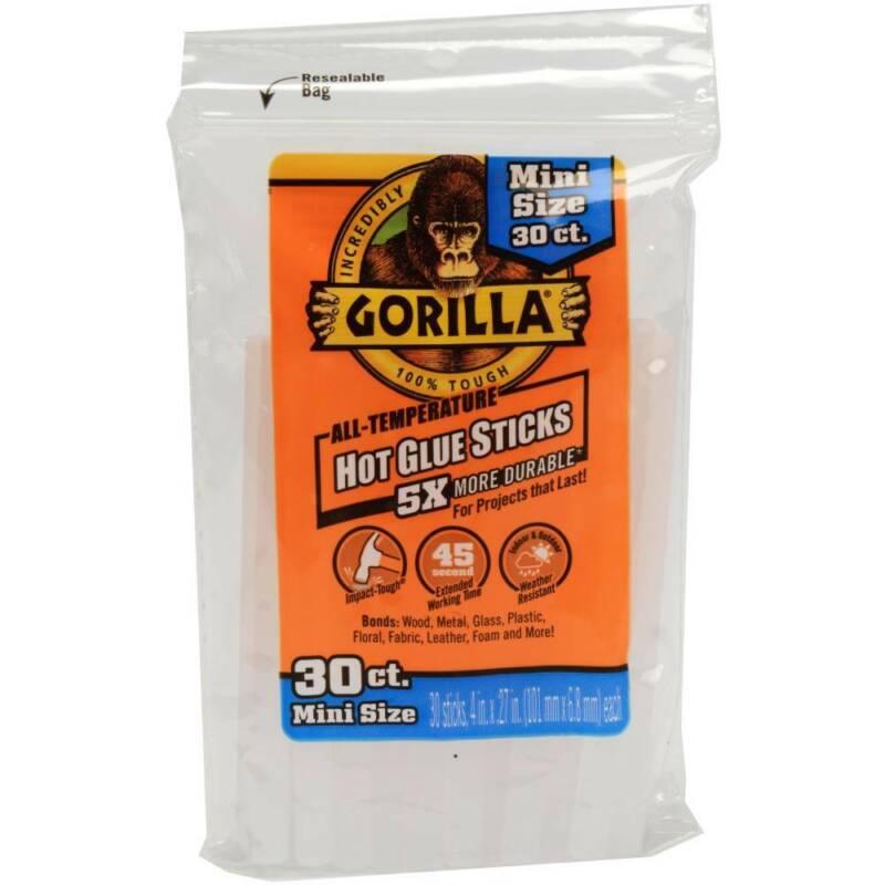 Gorilla Hot Glue Sticks Clear 4-inch Mini 30 Count For High/Low Temp Glue Guns