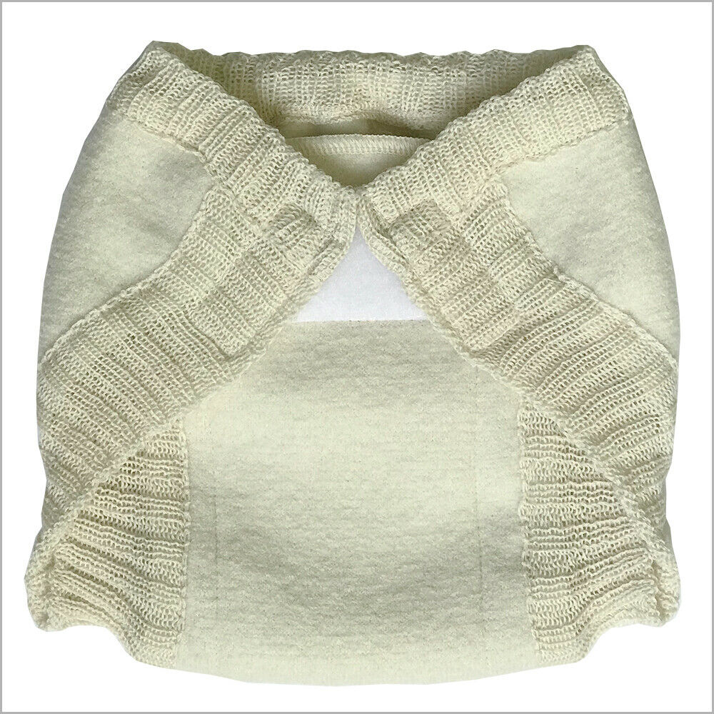 Overnight Boiled Merino Wool Diaper Cover with Hook-&-Loop f