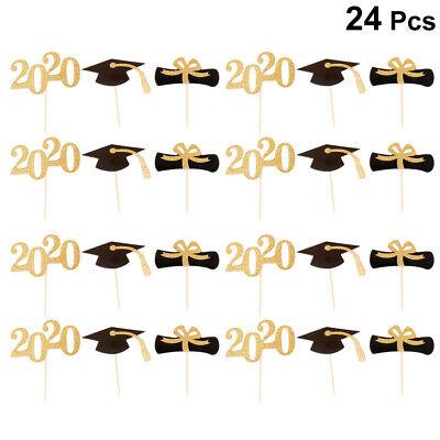 Graduation Cake Topper (24x 2020 Cake Topper Graduation Cake Topper Party Supplies Cupcake Picks)