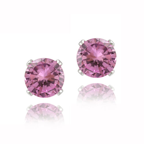 2.1ct Created Pink Sapphire 925 Silver Stud Earrings, 6mm