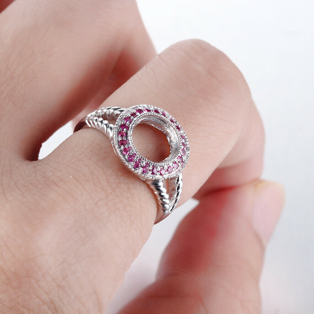 Split Shank 14K White Gold Ruby Round Semi Mount Unique Engagement ...
